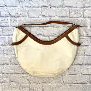 Lauren Ralph Lauren White and Tan Hobo Bag